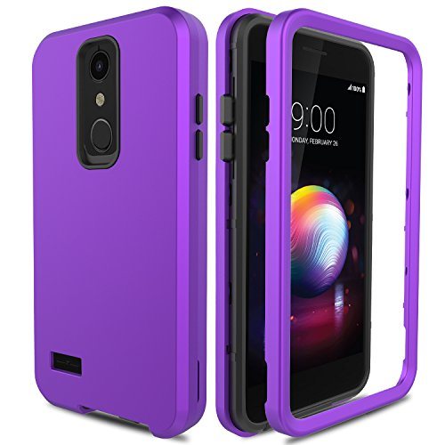 AMENQ Case for LG K30/LG Xpression Plus/LG Phoenix Plus/LG Premier Pro LTE, 3 in 1 Hybrid Protection with Shockproof Silicone Rubber Gel Shell and Scrath Resistant PC Armor Cover(Purple)