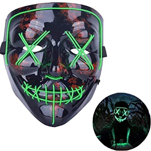Jiahuade LED Maske DJ Purge Masken mit 3 Blitzmodi für Halloween Maske Fasching Karneval Party Kostüm Cosplay Dekoration (Grün)