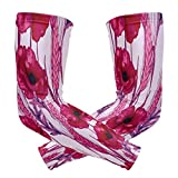 Uv Sun Protection Arm Sleeves Hot Pink Poppies Cornflowers Spikes Of Wheat Compression Sleeves for Arms Women Men Tattoo Sleeve Cover Up Arm Support Shield Shaper Elbow Brace for Basketball Cycling