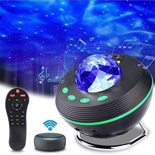 Projektor Sternhimmel LED Nachtlicht, ALED LIGHT Starry Wasserwellen Nachtlichter Galaxy Night Light Projektorlicht Lampe mit Fernbedienung Bluetooth Musik Stern LED Projektor Mondlicht Geschenk Party