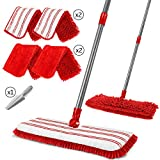 10. Leadhom Double-Sided Flat Mop with 4 Microfiber Mop Heads Flip Mop for Household Tile Floors Cleaning+Scraper-Red+White