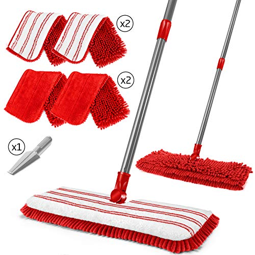 Flat Mop,Double-Sided Chenille Mop with 4 Microfiber Mop Pads, Household Floors Cleaning Mop for Tile, Laminate, Hardwood, Ceramic, Marble-Send 1PC Cleaning Scraper