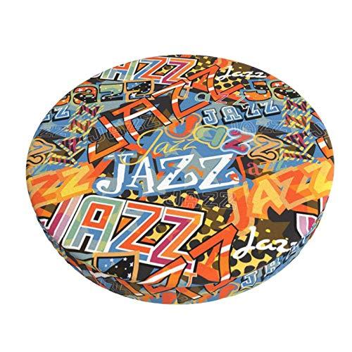 XJ-JX - Copertura rotonda per sgabello da bar con musica jazz astratta, 30 cm, antiscivolo, in morbido velluto, traspirante, per ristorante, bar, hotel