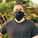 MASHELE Oversized L Face and Beard Cotton Reusable Cloth Covering with Adjustable Nose Bridge for Bearded Men (Large, Black)