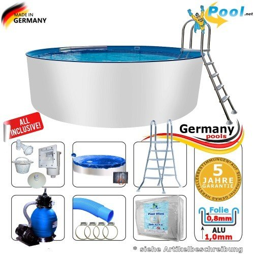 Alupool 2,50 x 1,50 Set Pool Rundpool Schwimmbecken 2,5 x 1,50 Swimmingpool Rundbecken rund Pools Aufstellpool Gartenpool Einbaupool Aufstellbecken 250 cm Set Aluminium Komplettset