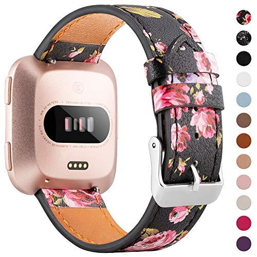 WASPO für Fitbit Versa Armband, Elegantes Echtes Lederarmband mit Schnellverschluss Pin Kompatibel mit Fitbit Versa 2/ Fitbit Versa/Fitbit Versa Lite Edition, Klein Groß Damen Herren (Pinke Blumen)