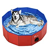 Pidsen Foldable Pet Swimming Pool Portable Dog Pool Kids Pets Dogs Cats Outdoor Bathing Tub Bathtub Water Pond Pool & Kiddie Pools ((160 x 30cm) 63'' D11.8'' H, Blue)