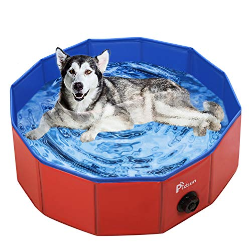 Pidsen Foldable Pet Swimming Pool Portable Dog Pool Kids Pets Dogs Cats Outdoor Bathing Tub Bathtub...