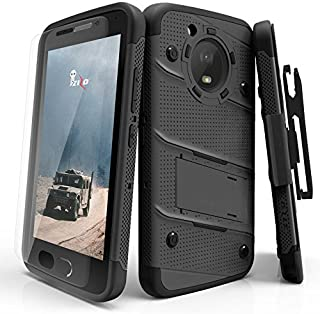 ZIZO Bolt Series Motorola Moto e4 Plus Case Military Grade Drop Tested with Tempered Glass Screen Protector Holster Black