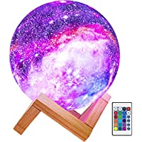 Brightworld 16 Colors LED 3D Star Moon Light with Wood Stand