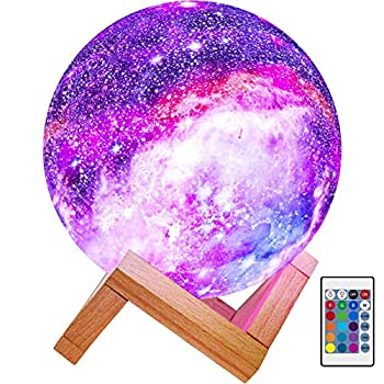 BRIGHTWORLD Moon Lamp Kids Night Light Galaxy Lamp 5.9 inch 16 Colors LED 3D Star Moon Light with Wood Stand Remote & Touch Control USB Rechargeable Gift for Baby Girls Boys Birthday