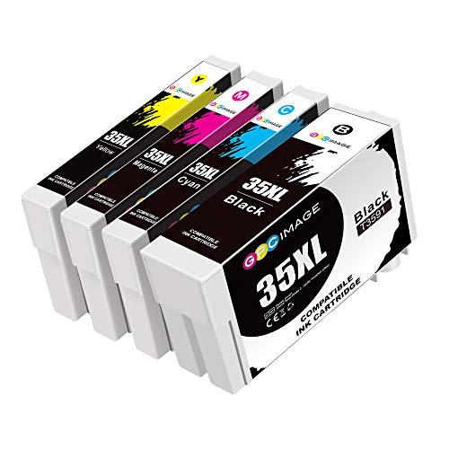 GPC Image 35XL Druckerpatronen Kompatibel für Epson Workforce Pro 35 XL Tintenpatronen Workforce Pro WF-4740DTWF WF-4730DTWF WF-4720DWF WF-4725DWF (1 Schwarz, 1 Cyan, 1 Magenta, 1 Gelb)