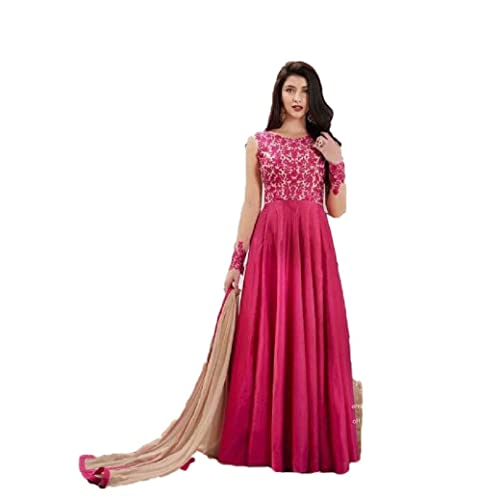 31aeec1ab4 Royal Heaven Pink Georgette Fabric Heavy Embroidered Designer Long Anarkali  Salwar Suit -3003
