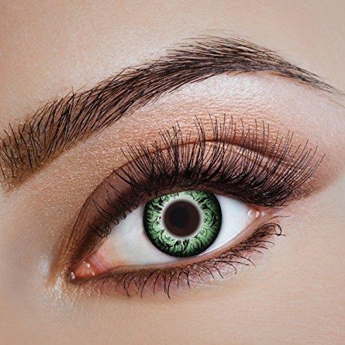 aricona Kontaktlinsen - Grüne Kontaktlinsen farbig ohne Stärke - Farbige Anime, Manga, Cosplay Kontaktlinsen Circle Lenses für größere Augen, 2 Stück