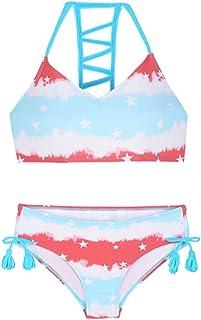 Firpearl Girls Swimsuits Halter Bikini Two Piece Bathing Suit Kids Bikini L Red&Blue Star