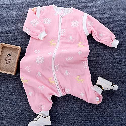 QFYD FDEYL Saco de Dormir con Pies para Bebé,Saco de Dormir para bebés y niños pequeños con 6 Capas de Gasa de algodón-Pink Deer_Length 70, Piernas separadas Invierno Saco Antideslizante