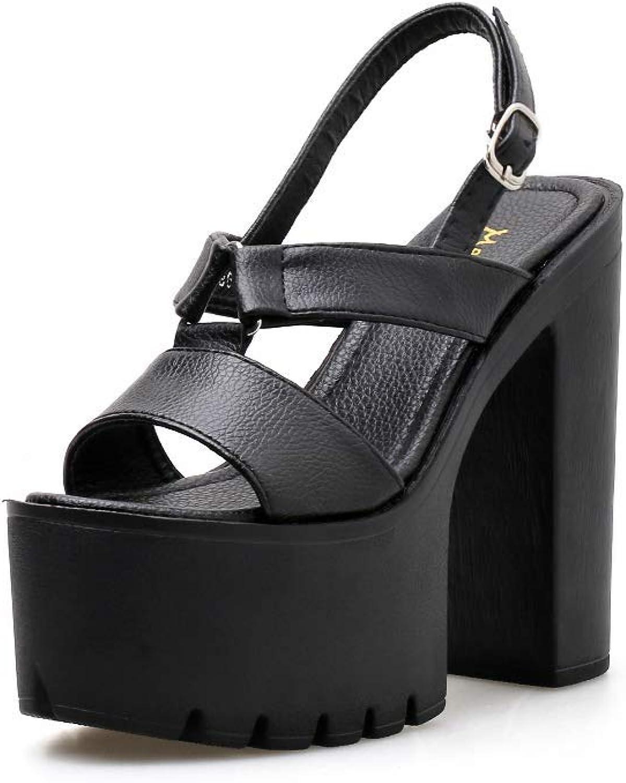 SYXLBDK Damen Schuh Casual Hasse Tiangao Modellschuhe Absatz 15 cm Hoch Prinzessin Liebe Dicke Ferse Dicke Sohle Sexy T -Bühnentanz Sandalen