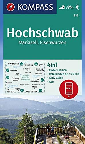 KOMPASS Wanderkarte Hochschwab, Mariazell, Eisenwurzen: 4in1 Wanderkarte 1:50000 mit Aktiv Guide und Detailkarten inklusive Karte zur offline ... Skitouren. (KOMPASS-Wanderkarten, Band 212)
