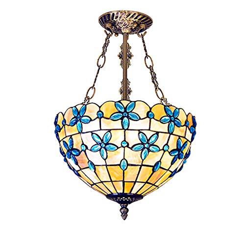 Carl Artbay THD plafondlamp, Tiffany-stijl, beschilderde schelpbloemen, rijke lampenkapjes, handgemaakt in de woonkamer, 2 lichtjes eetkamer kaarsenhouder 12 inch