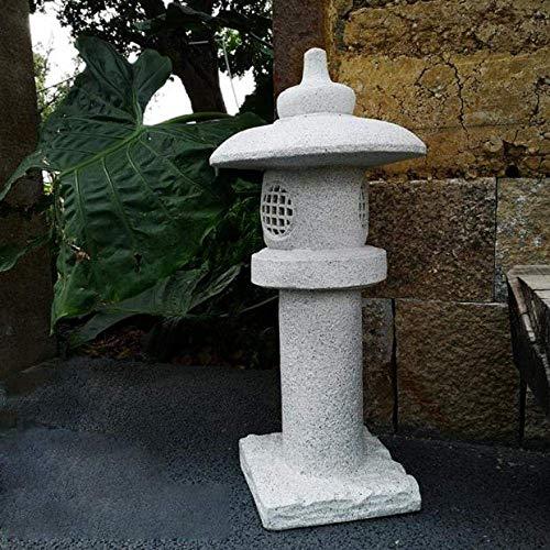 QULONG Gran Pagoda Adorno de jardín Linterna Japonesa China Lámpara Zen Asien Life Style, E + Gris