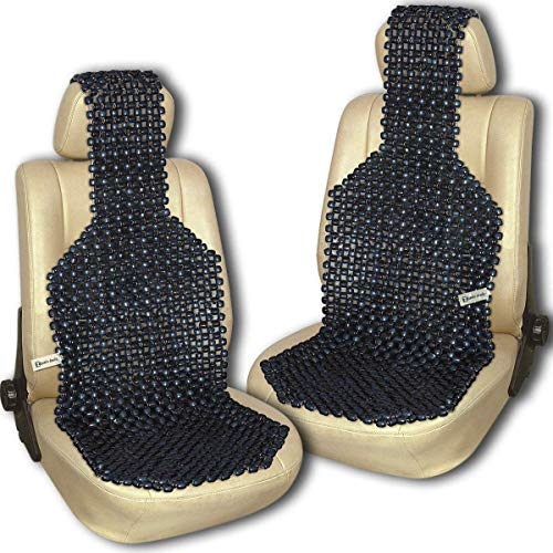 Zento Deals Pair of Black Premium Quality Natural Wooden Beaded Seat Massage Cushion- Universal Good Ventilation Car Seat Cushion