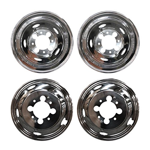 "4pcs Front Rear Polished Stainless Steel 17"" Dually 8-Lug 5-Hand Hole Wheel Simulators Hub Caps Skins Liners Covers R17 w/Removable Centre Caps Compatible With 03-19 Dodge Ram 3500 Dually with 8-Lug 5-Hand Hole"