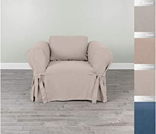 Serta | Relaxed Cotton Duck Slipcover Collection, Fits Most Box Cushion Chairs Measuring, Up to 24