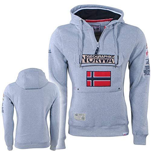 Geographical Norway - Sudadera con capucha Gymclass para hombre con cremallera de medio cuerpo - Anapurna, B-Gray gris luminoso (ral 7035) M