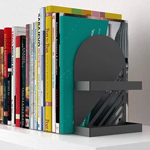 Neatly Made Iron Arch Decorative Bookends for Heavy Books, 200% Stronger & Heavier Than The Average Bookends, Large Iron Steel Black Heavy Duty Bookends with Matching Bonus Storage Cup