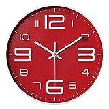 Outpicker Orologio da Parete moderno 12 Pollici/30cm Silenzioso Non ticchettio a Batteria orologio parete grandi per Cucina Home Office Scuola (Rosso B)