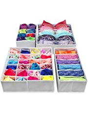 Vouch 4 Piece Non Woven Foldable Drawer Organizer with Compartments, Grey