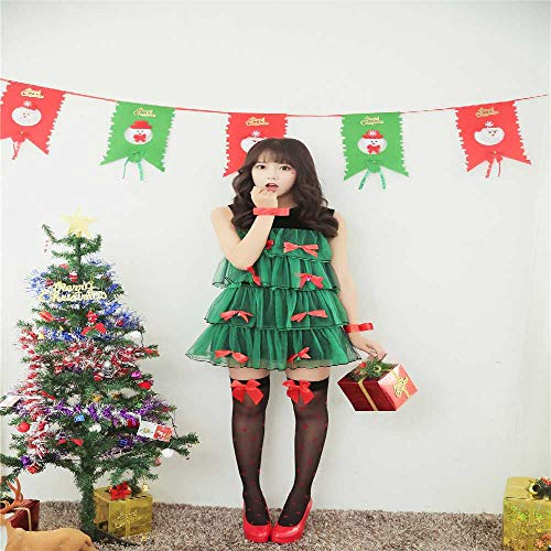 ZBBYMX - Disfraz de árbol de Navidad para Mujer, Color Verde, poliéster, 1, Talla única