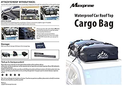 MAXXPRIME Waterproof Cargo Bag Vans Works with or Without Roof Rack Heavy Duty Rooftop Soft-Shell Carrier Bag with Handles Best for Traveling SUVs Cars