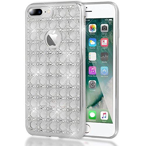 NALIA telefoonhoes compatibel met iPhone 7 Plus, Shiny Glitter Stenen Bling Silicone Case met strass patroon, Metal Look dunne beschermhoes telefoonhoes Slim Cover Case Cover Bumper
