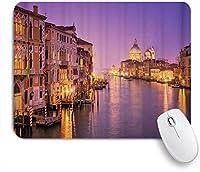 GUVICINIR マウスパッド 個性的 おしゃれ 柔軟 かわいい ゴム製裏面 ゲーミングマウスパッド PC ノートパソコン オフィス用 デスクマット 滑り止め 耐久性が良い おもしろいパターン (ヴェネツィアの大運河とサンタマリアデッラサルーテ)