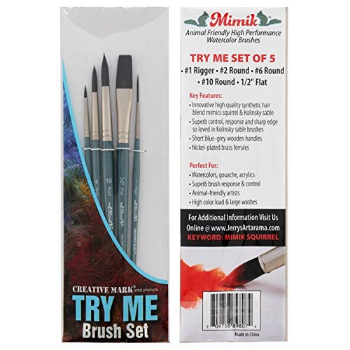 Creative Mark Artist Paint Brush Set - Mimik Synthethic Squirrel Short Handle Paint Brushes - Assorted Sizes - Try Me Pack - 5 Pieces