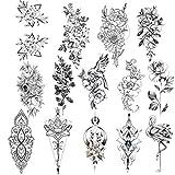 Konsait 14 Blätter Blume schwarz Mehndi Temporäre Tattoo Frauen Aufkleber Temporäre Tätowierung Sexy Wasserdichte Body Art für Frauen Jugendliche Mädchen