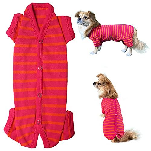 Kickred Maglietta per cani, a righe, 4 gambe, in cotone, per cani di piccola taglia, per cuccioli, estivi e morbidi, 1 pezzo rosso rosa, taglia XL