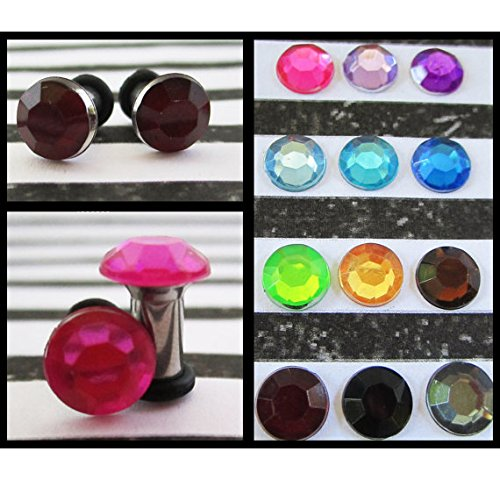 4mm 2g aka 2mm 3mm 6mm 8g Electric Neon Rhinestone EAR TUNNEL PLUG Earrings you pick gauge size and color 6g 4g