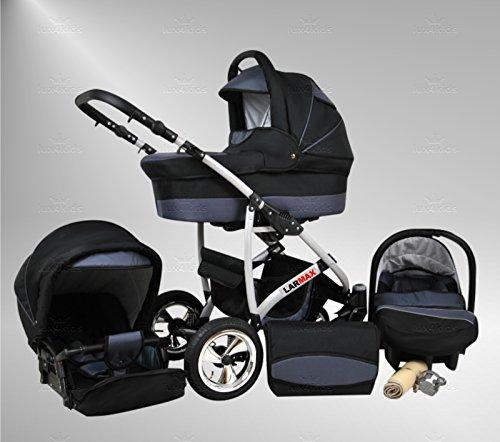 True Love Larmax Kinderwagen Komplettset (Autositz & Adapter, Regenschutz, Moskitonetz, Schwenkräder) 79 Platin & Graphit