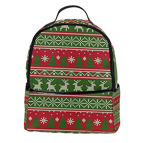 KAMEARI Zaino per la scuola di Natale a maglia renna albero rosso verde modello casual zaino per viaggi con tasche laterali bottiglia