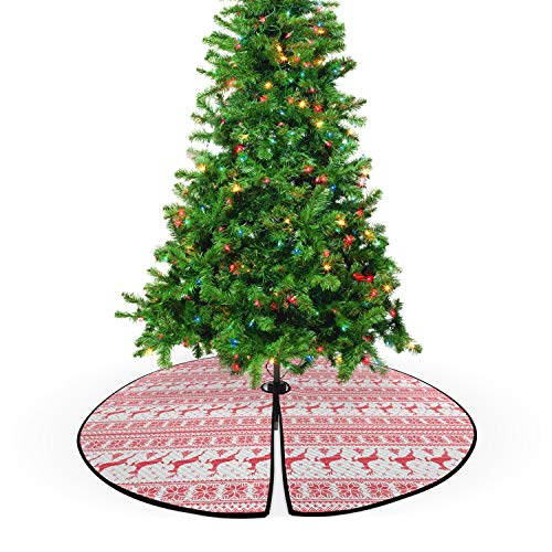 Ambesonne Nordic Christmas Tree Skirt, Winter Christmas Ornamental Illustration with Snowflakes Reindeers Animal Pattern, Decorative Quilted Mat Seasonal Holiday Decoration, 53.5', Coral White