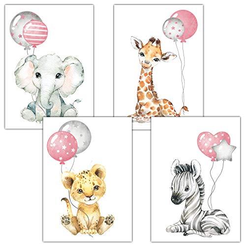 Frechdax® Poster Kinderzimmer Deko Grau Bilder Babyzimmer Safari Dschungel Tierposter Luftballon (rosa für mädchen)