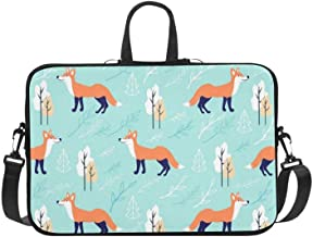 Seamless Vector Pattern Cute Cartoon Fox Pattern Briefcase Laptop Bag Messenger Shoulder Work Bag Crossbody Handbag for Business Travelling