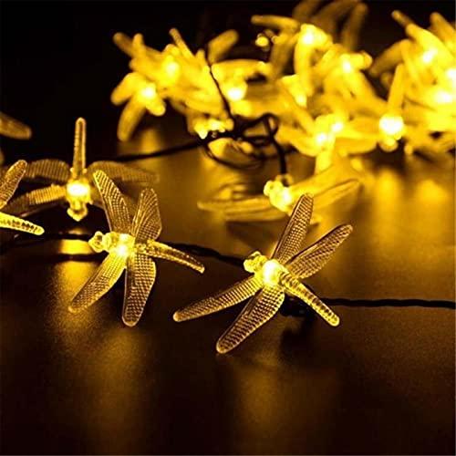 JDSTY Luz solar al aire libre de la tira de la luz del panel solar de la libélula impermeable jardín decoración de la