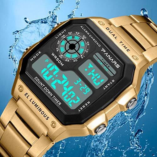 LYDBM PANARS Deportes for Hombre Relojes Retro Conde Impermeable de Buceo Abajo Temporizador Digital de Choque los Hombres del Reloj cronómetro Reloj Masculino g Moda (Color : Oro)