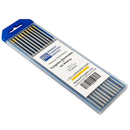 TIG Welding Tungsten Electrodes 1.5% Lanthanated (Gold, WL15) 10-Pack (1/8