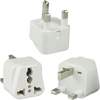 UK Travel Plug Adapter(Type G) for UK, Hong Kong, Malaysia, Singapore, Kenya, Saudi Arabia - Grounded & Universal (Type G, 3Pack, Grounded) -White Color