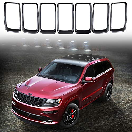 7PCS Black Rims Grill Inserts for Jeep Grand Cherokee 2014-2016 Front Grille Rings Trims Kits Covers Accessories