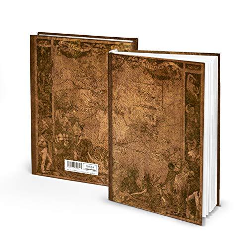Logbuch-Verlag XXL Notizbuch A4 Reisebuch ALTE WELT Leder-Optik braun natur Vintage Buch zum Selberschreiben leer LINIERT 128 Seiten DIY Reisetagebuch